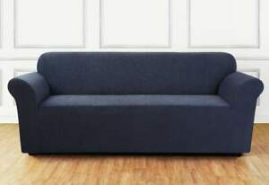 Ultimate Stretch Chenille One Piece loveseat Slipcover storm blue new stock 2