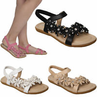 WOMENS LADIES FLAT DIAMANTE SANDALS SLING BACK SUMMER FLIP FLOPS SHOES OPEN TOE
