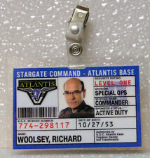 Stargate Command Atlantis ID Badge-Richard Woolsey cosplay costume prop