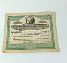 Vintage 1931 ROCKY MOUNTAIN Livestock Feeders Certificate for 1,200 shares