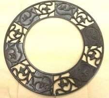 """Decorative Cast Iron Floral Wall Duct Transition Ring 13"""" OD x 7½"""" ID...IRStR-TH"""