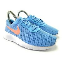 Nike Girl's Tanjun Psychic Blue Bleached Coral White Running Shoes Size 7 (GS)