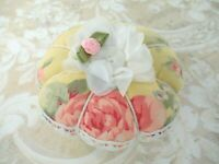 Handmade Fabric Tuffet Pin Cushion ~ Made in USA ~ Pastel Yellow with Pink Roses