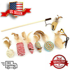 7Pcs Set Cat Toy Set Teaser Pet Toys Kittens Small Feather Fish Mouse Stick