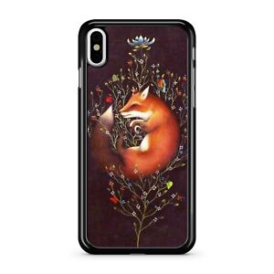 Relaxing Resting Cuddly Fox Hugging Colourful Floral Tree 2D Phone Case Cover