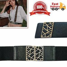 Fashion Lady Wide Belt Women Elastic Gold Buckle Waist Dress Stretch Corset UK