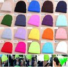 New Unisex Winter Warm Plain Cuff Solid Color Skull Hat Beanie Knit Ski Cap