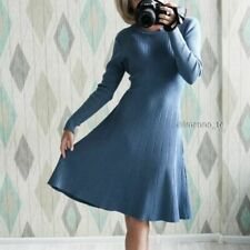 Lace Up Autumn Winter Warm Women Sweater Dress Thick A-line Slim Knitted Pleated