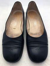 CHANEL Black Leather CC Cap Toe Ballerina Ballet Heeled Flats Shoes Size 36.5