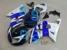 Blue White INJECTION Fairing + Tank Cover Set Suzuki GSXR 600 750 2001-2003 123