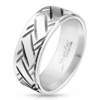 Ring Diamantschliff Silber aus Edelstahl Herren Männerring Herrenring Hand