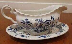 "VINTAGE J&G Meakin England - ""BLUE NORDIC"" Gravy Boat & Dish - English Ironstone"