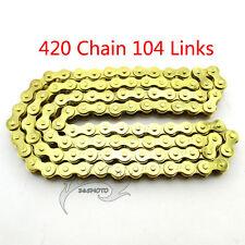Gold Chain 420x104 Links For XR50 CRF 50/70 SSR Pit Dirt Bike ATV Quad 110 125cc