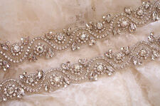 OPHELIA Rhinestone Crystal Diamante Bridal Sash Wedding Dress Belt Any Colour