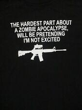 XL black ZOMBIE APOCALYPSE GUN t-shirt by AAA