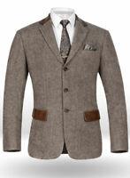Brown Men Suit Three Button Herringbone Tweed Groom Tuxedo Prom Party Suit