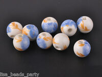 20pcs10mm Round Porcelain Ceramic Loose Spacer Beads Big Hole Charms Blue Rose