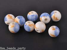 10pcs10mm Round Porcelain Ceramic Loose Spacer Beads Big Hole Charms Blue Rose