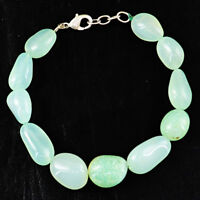 """222.00 Cts Natural 8"""" Inches Long Untreated Green Aquamarine Beads Bracelet"""