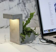 Kikkerland Concrete Desktop Planter & USB Light Lamp Office House Plant Pot Gift