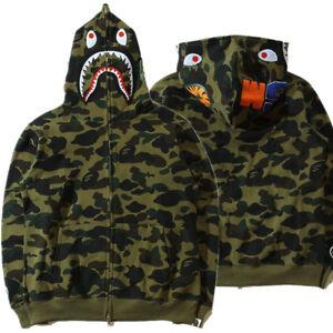 Unique Men's Camo Full Zipper Hoodie Sweats Coat Jacket Sweatshirts