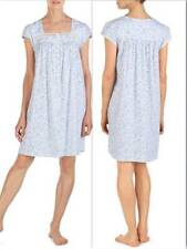 NWT $58 EILEEN WEST CHEMISE NIGHTGOWN MEDIUM Blue Floral 100% Cotton Knit
