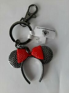 Disney Park Minnie Mouse Headband Ears Keychain Red Bow Key Ring