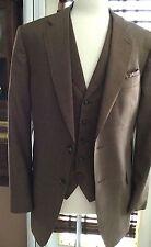 """Cravats Bespoke""A 2 Piece Jacket & Vest Cognac Window Pane 43R Lux 100% Wool"