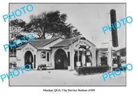 OLD LARGE PHOTO OF MACKAY CITY SERVICE STATION QLD c1939 TEXACO PLUME CASTROL