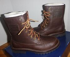 Men's Polo Ralph Lauren FLAXBY Oiled Tumbled Leather  8eye MocToe Boots Size 7.5