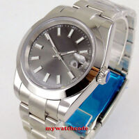 40mm sterile gray dial steel solid case date sapphire glass automatic mens watch