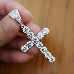 Christmas Sale 1.50 Ct Diamond Cross Pendant 14K White Gold Over