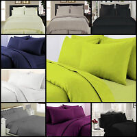 100% Egyptian Cotton 300 Thread Count Sateen Duvet Quilt Cover+P.Case Bed Set