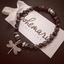 Snowflake obsidian dragonfly charm bracelet gemstone bijoux jewellery boho gypsy