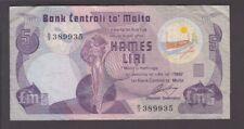 Malta banknote P. 35a-9935 5 Pounds Pfx B/3, F-VF We Combine