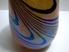 Vintage Art Glass Vase Iridescent Swirl Gold Blue Green Pink
