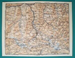 AUSTRIA Alps Bad Gastein Mallinitz Kleinarl & Environs - 1931 BAEDEKER MAP
