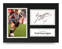 Paul Gascoigne Signed A4 Photo Display Newcastle United Autograph Memorabilia