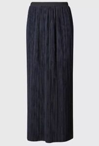 MARKS & SPENCER PER UNA NAVY BLUE PLISSE RIPPLE PLEATED SKIRT SIzes 8 TO 24