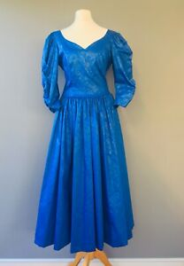 Laura Ashley Vtg Dress Long Sleeve Blue Ball gown 10 8 Sweetheart neckline K20