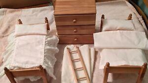 "VTG Strombecker TWIN/BUNK BEDS + LADDER + DRESSER 8"" GINNY Vogue DOLL FURNITURE"