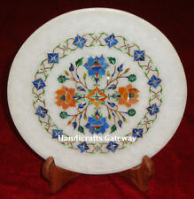Beautiful Marble Inlay Decorative Plate, Stone Inlaid Art Handmade Plate