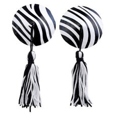 1pair Assorted Zebra Round Adheive Sexy PU Leather Nipple Cover Pasties Reusable