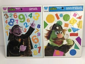 Lot of 2 Vintage SESAME STREET Whitman Frame Tray Puzzle 1976 Count & Sherlock