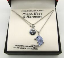 NIB Sterling Silver Hope & Blue Made w/Swarovski Crystals Dolphin Necklace Set