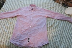 Burberry London Neiman Marcus Exclusive Button Front Shirt 16 1/2 L Striped Pink