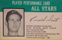 1964 Chicago Cubs Ron Santo Hasbro Challenge Baseball Player Performance Card