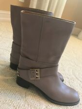 New CHLOE Mid-Calf All Around Buckle Gray Boots Size 40