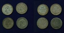 NETHERLANDS  10 CENTS SILVER COINS: 1905,1906,1919,1928