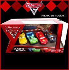 Disney Pixar Cars 2 RACING 4-PACK McQueen Max Schnell Jeff Gorvette Carla Veloso